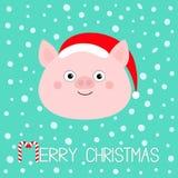 wesołych Świąt Świniowata prosiaczek twarz Ślicznej kreskówki dziecka śmieszny charakter Wieprz chlewni lochy zwierzę Santa kapel ilustracja wektor