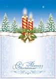 wesołych Świąt Bożenarodzeniowy tło z świeczkami i dzwonami Zdjęcie Stock