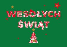 Wesołych świąt. Christmas polish - Poland greeting card vector illustration