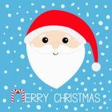 wesołych Świąt Cukierek trzcina Święty Mikołaj głowy twarz, duża broda, wąsy, białe brwi, czerwony kapelusz Śliczny kreskówki kaw ilustracja wektor