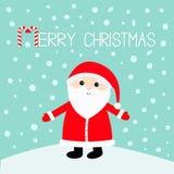 wesołych Świąt Cukierek trzcina Święty Mikołaj jest ubranym czerwonego kapelusz, kostium, duża broda royalty ilustracja