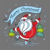wesołych Świąt dodatkowy karcianego formata wakacje Święty Mikołaj na łyżwach również zwrócić corel ilustracji wektora ilustracja wektor