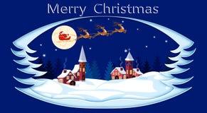 wesołych Świąt 2007 pozdrowienia karty szczęśliwych nowego roku Święty Mikołaj, księżyc, śnieg, domy, kościół ilustracja royalty ilustracja