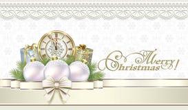 wesołych Świąt Prezentów pudełka z zegarami i piłkami Obraz Royalty Free