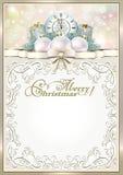 wesołych Świąt Rama z prezentami i zegarem Zdjęcia Stock