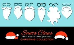wesołych Świąt Set różnorodni Santa kapelusze, wąs, brody i eyeglasses odizolowywający na błękitnym tle, royalty ilustracja