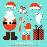 wesołych Świąt Set różnorodni Santa kapelusze, wąs, brody, prezenty, buty, rękawiczki i dzwony odizolowywający na błękitnym tle, Zdjęcie Stock