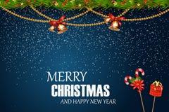 wesołych Świąt szczęśliwego nowego roku, Świąteczni boże narodzenia Projektują szablon z jedlinową gałąź, śnieg, girlanda, dźwięc Zdjęcia Royalty Free