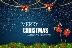 wesołych Świąt szczęśliwego nowego roku, Świąteczni boże narodzenia Projektują szablon z jedlinową gałąź, śnieg, girlanda, dźwięc Obrazy Royalty Free