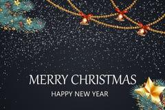 wesołych Świąt szczęśliwego nowego roku, Świąteczny boże narodzenie projekta szablon z sosną rozgałęzia się, girlanda, dźwięczeni Obrazy Stock