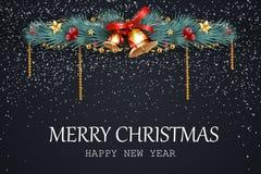 wesołych Świąt szczęśliwego nowego roku, Świąteczny boże narodzenie projekta szablon z sosną rozgałęzia się, girlanda, dźwięczeni Fotografia Royalty Free