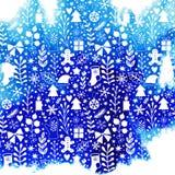 wesołych Świąt, Szczęśliwy nowego roku projekt, akwareli tekstura, sylwetka mroźny klasyczni Bożenarodzeniowi elementy ornament ilustracji