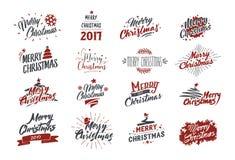 wesołych Świąt Typografia set Wektorowy ilustracyjny błyskotliwy literowanie projekt Używalny dla sztandarów, kartka z pozdrowien Obrazy Stock
