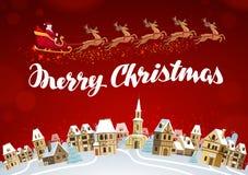 wesołych Świąt Xmas kartka z pozdrowieniami wektor royalty ilustracja