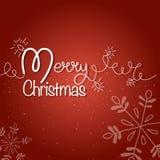 wesołych świąteczną kartkę Błyszcząca girlanda z jedlinowym drzewem i płatkami śniegu zdjęcia stock
