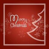 wesołych świąteczną kartkę Błyszcząca girlanda z jedlinowym drzewem i płatkami śniegu zdjęcie royalty free
