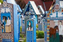 Wesoło cmentarz Sapanta, Maramures, Rumunia Tamte cmentarz jest unikalny w Rumunia Zdjęcie Royalty Free