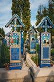 Wesoło cmentarz Sapanta, Maramures, Rumunia Tamte cmentarz jest unikalny w Rumunia i w th Obrazy Royalty Free