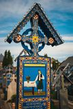 Wesoło cmentarz Sapanta, Maramures, Rumunia Tamte cmentarz jest unikalny w Rumunia i w th Obraz Stock
