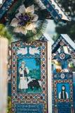 Wesoło cmentarz Sapanta, Maramures, Rumunia Tamte cmentarz jest unikalny w Rumunia i w th Fotografia Royalty Free