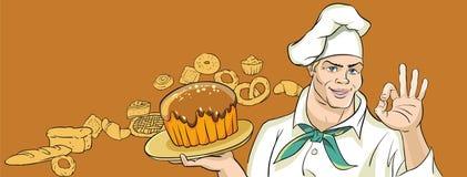 Wesoło piekarz z tortem royalty ilustracja