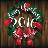 Wesoło boże narodzenia i Szczęśliwy nowego roku 2016 wianek na drewnianym kartka z pozdrowieniami projekcie Fotografia Royalty Free
