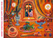 Wesoło boże narodzenia i Szczęśliwy nowy rok - kreskówki ilustracja Obraz Stock