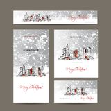 Wesoło boże narodzenia, ustawiają pocztówki z pejzażem miejskim Fotografia Stock
