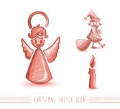 Wesoło bożych narodzeń nakreślenia stylu czerwoni elementy ustawiają EPS10 kartotekę. Obrazy Stock