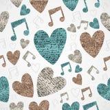 Wesoło bożych narodzeń rocznika miłości muzycznego grunge bezszwowy wzór. Zdjęcie Royalty Free
