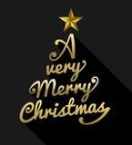 Wesoło bożych narodzeń złocistego teksta kształta drzewny kartka z pozdrowieniami Zdjęcie Royalty Free