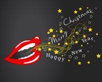 Wesoło kartka bożonarodzeniowa życzenia usta - wakacje - Fotografia Stock