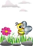 Wesp aan bloem vector illustratie