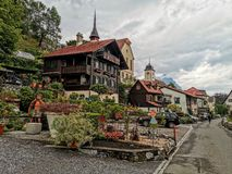 Urban garden in the resort lake town of Wessen Switzerland