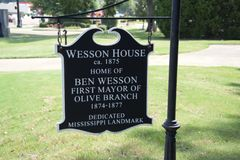 Wesson House Established 1875 Olive Branch, Mississippi. Wesson House Established 1875, The Wesson House a historic Mississippi landmark The Wesson House royalty free stock photos