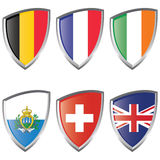 West 2 Europe Shield Flags Royalty Free Stock Photo