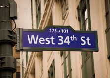West 34th Street Sign Royalty Free Stock Photos