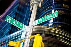 West 42nd Street and Broadway. New York City street signs 7th Avenue and West 42nd Steret at night royalty free stock image