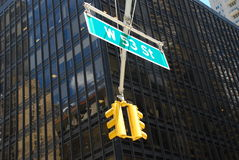 West 53rd St. New York. Traffic light on west 53rd St. New York, USA royalty free stock photo