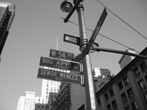 West 54th and Broadway sign. Is know as Big Apple Corner in New York City royalty free stock photos