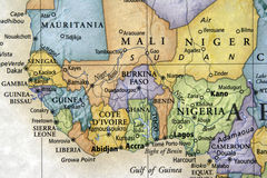 West Africa. Colored map of Liberia and surrounding countries Royalty Free Stock Photos