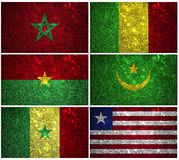 West Africa flags. Mali,Liberia, Senegal, Mauritania, Morocco and Burkina Faso of wall texture Royalty Free Stock Images