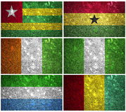 West Africa flags. Togo, Nigeria, Ghana, Sierra Leone, Guinea and Cote d'Ivoire of wall texture Stock Image