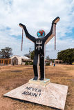 West Africa Gambia -  a monument commemorating the abolition of slavery. Monument `Never again` in the place of birth and capture Kunta Kinte. The hero of the Stock Image