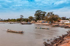 West Africa Gambia - small fishing port royalty free stock photos