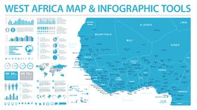 West Africa Map - Info Graphic Vector Illustration Royalty Free Stock Photo