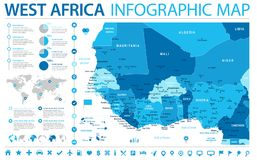 West Africa Map - Info Graphic Vector Illustration Stock Images