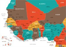 West Africa Map - Vector Illustration Royalty Free Stock Image