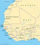 West Africa Map. Hand drawn map of West Africa with capitals, national borders, rivers and lakes. With english labeling and scale Royalty Free Stock Photography