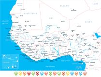 West Africa Map - Vector Illustration Royalty Free Stock Images
